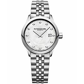 RAYMOND WEIL FREELANCER 5629-ST-97081 DIAMOND PEARL LADIES WATCH