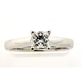 Tolkowsky Ideal Princess Cut .47ct Diamond Engagement Ring 14k White Gold 5.25