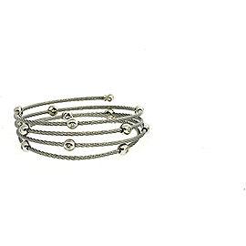 Charriol 18k White Gold Stainless Steel Diamond Ring Wrap Bracelet