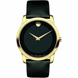 MOVADO MUSEUM 0606876 GOLD BLACK LEATHER STRAP SWISS QUARTZ WATCH