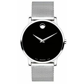 MOVADO CORE MUSEUM 0607219 MESH BRACELET SWISS QUARTZ MENS BLACK WATCH