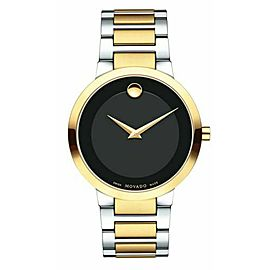 MOVADO MODERN CLASSIC 0607120 CONCAVE DOT BLACK TWO TONE SWISS MENS WATCH