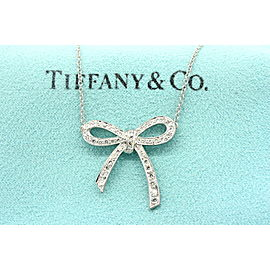 Tiffany & Co. Ribbon Bow Diamond Pendant Necklace Medium Size Platinum Rare