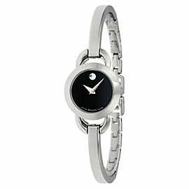 MOVADO RONDIRO 0606796 LADIES BLACK DIAL SWISS QUARTZ 22MM WATCH