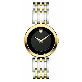 MOVADO LADIES ESPERANZA 0607053 TWO TONE STAINLESS STEEL BLACK WATCH