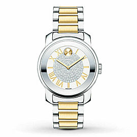 MOVADO BOLD LUXE 3600256 TWO TONE SILVER ROMAN SWISS QUARTZ LADIES WATCH