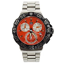 TAG HEUER FORMULA 1 CAH1113.BA0850 ORANGE CHRONOGRAPH STEEL SWISS WATCH