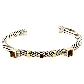 David Yurman Cuff Bracelet Sterling Silver 14k Gold Cable Citrine Tourmaline