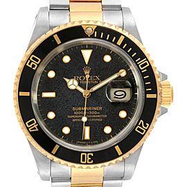 Rolex Submariner Steel Yellow Gold Black Dial Bezel Mens Watch 16613