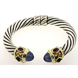 David Yurman Renaissance Cuff Bracelet Chalcedony Sterling Silver 14k Gold