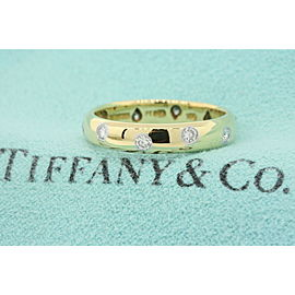 Tiffany & Co. Etoile 10 Diamond Ring Band 18k Gold Platinum size 5.5.