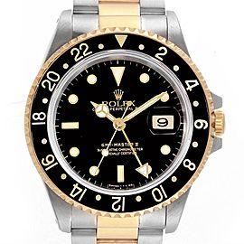 Rolex GMT Master II Yellow Gold Steel Oyster Bracelet Mens Watch 16713