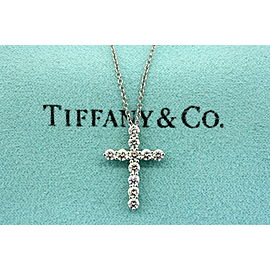 Tiffany & Co. Diamond Cross Pendant Platinum 11 Stones .66 carat Vintage