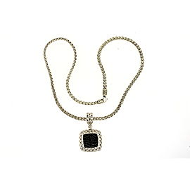 "John Hardy Pendant Large Square Black Sapphire Chain Necklace Classic 7/8"" 18"""