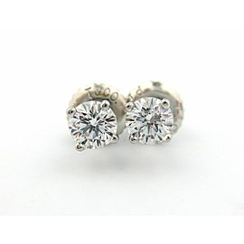 Tiffany & Co Platinum Round Diamond Stud Earrings .36Ctw H VVS1