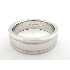 Tiffany & Co Platinum Flat Double Milgrain Wedding Band Ring 6mm Size 9.5 US