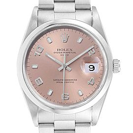 Rolex Date Salmon Dial Oyster Bracelet Steel Mens Watch 15200