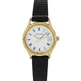 Ladies Tiffany & Co Portfolio Electroplated Gold S/S Watch W/ Box