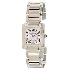 Cartier Tank Francaise W50011S3 18k White Gold Automatic Mens Watch
