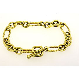 David Yurman Bracelet 18k Yellow Gold Figaro Cable Link Chain Toggle Clasp 7""