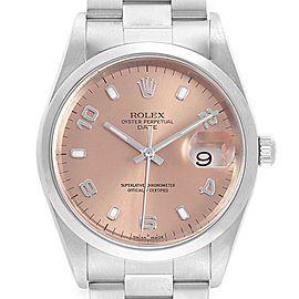 Rolex Date Salmon Dial Smooth Bezel Steel Mens Watch 15200 Box