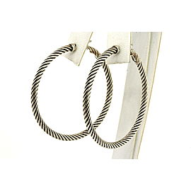 "David Yurman 1.75"" Cable Hoop Earrings Classic Large 14k White Gold Posts"