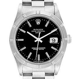 Rolex Date Black Dial Oyster Bracelet Steel Mens Watch 15210