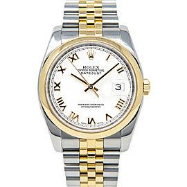 Rolex Datejust 116203 36mmSteel & Yellow Gold White Roman Women's Automatic