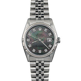 Rolex Datejust 16014 36mmStainless Steel Black Mother of Pearl Diamond Women's