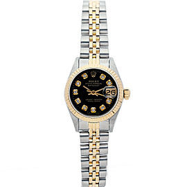 Rolex Datejust 6917 26mmSteel & Yellow Gold Black Diamond Women's Automatic