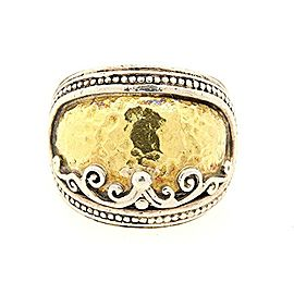 Konstantino 18k Yellow Gold Hammered Sterling Silver Aspasia Ring Band 5.75
