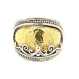 Konstantino 18k Yellow Gold Hammered Sterling Silver Aspasia Ring Band 5.75