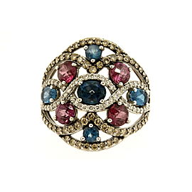 Levian Garnet Topaz Ring Chocolate White Diamonds 14k White Gold 7