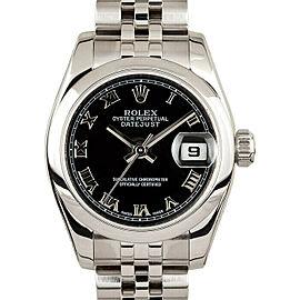Rolex Datejust 26mm 179160 Women's Black Roman Steel 26mm 1 Year Warranty