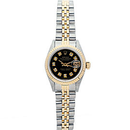Rolex Datejust 26mm 69173 Women's Black Diamond Yellow Gold 26mm 1 Year Warranty