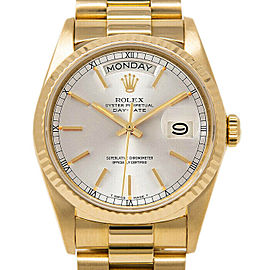 Rolex Day-Date 36mm 18038 Men's Silver Yellow Gold 36mm 1 Year Warranty