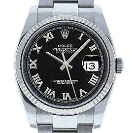 Rolex Datejust 36mm 116234 Unisex Black Roman White Gold 36mm 1 Year Warranty