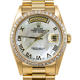Rolex Day-Date 36mm 18038 Men's White MOP Roman Yellow Gold 36mm 1 Year Warranty