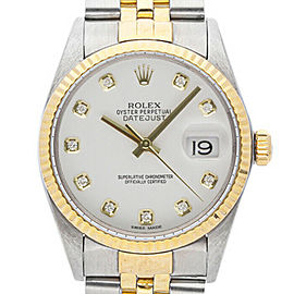 Rolex Datejust 36mm 16013 Unisex White Diamond Yellow Gold 36mm 1 Year Warranty