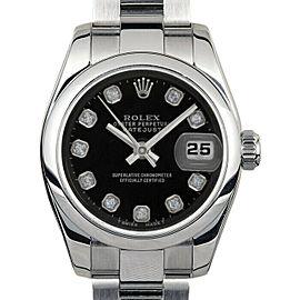 Rolex Datejust 26mm 179160 Women's Black Diamond Steel 26mm 1 Year Warranty