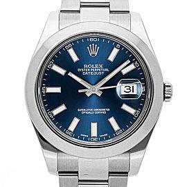 Rolex Datejust II 116300 Men's Blue Index Stainless Steel 41mm 1 Year Warranty