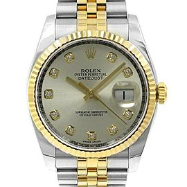 Rolex Datejust 116233 Unisex Silver Diamond Yellow Gold 36mm 1 Year Warranty