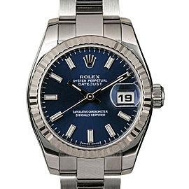 Rolex Datejust 26mm 179174 Women's Blue Index White Gold 26mm 1 Year Warranty