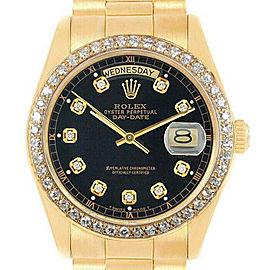 Rolex Datejust 36mm 18208 Unisex Black Diamond Yellow Gold 36mm 1 Year Warranty