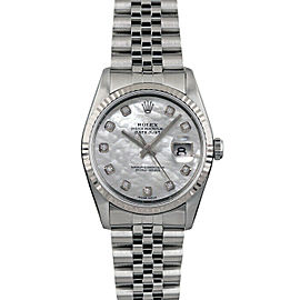 Rolex Datejust 16014 Unisex White MOP Diamond White Gold 36mm 1 Year Warranty
