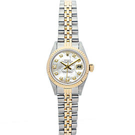 Rolex Datejust 69173 Women's White MOP Diamond Yellow Gold 26mm 1 Year Warranty