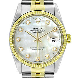 Rolex Datejust 16233 Unisex White MOP Diamonds Yellow Gold 36mm 1 Year Warranty