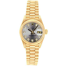 Rolex Datejust 69178 Women's Silver Diamond Yellow Gold 26mm 1 Year Warranty