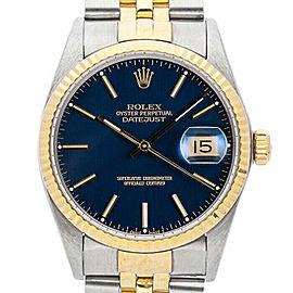 Rolex Datejust 36mm 16013 Unisex Blue Index Yellow Gold 36mm 1 Year Warranty