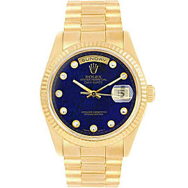Rolex Day-Date18238 Men's Blue Lapis Diamond Yellow Gold 36mm 1 Year Warranty